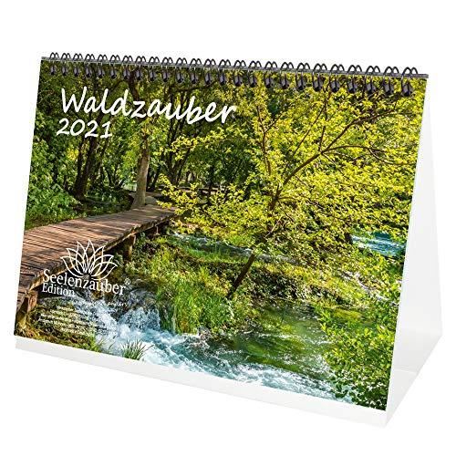Waldzauber DIN A5 Tischkalender für 2021 Wald - Geschenkset Inhalt: 1x Kalender, 1x Weihnachts- und 1x Grußkarte (insgesamt 3 Teile)