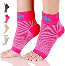 Dowellife Plantar Fasciitis Socks, Ankle Brace Compression Support Sleeves & Arch Support, Foot Compression Sleeves, Ease Swelling, Achilles Tendonitis, Heel Spur for Men Women (Pink 2 Pairs, Medium)