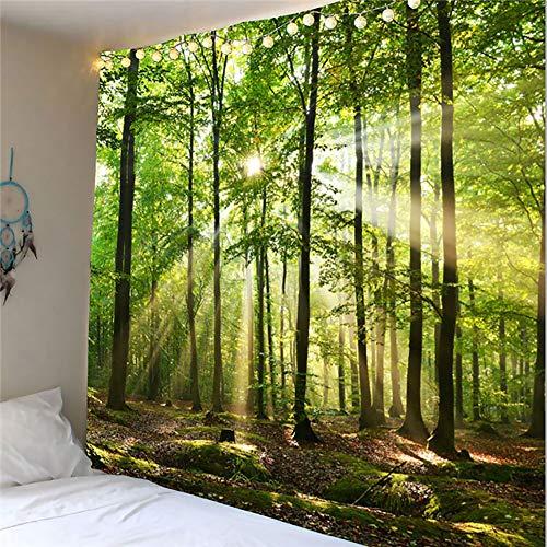 "QCWN Mystic Forest Tapiz decorativo para casa de granja, paisaje de bosque verde, paisaje del bosque, tapiz para colgar en la pared para recámara, sala de estar o dormitorio., poliéster, 1, 88""L*104""W"