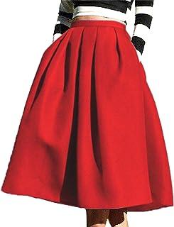 9549f4bba8985 FACE N FACE Women s High Waisted A Line Street Skirt Skater Pleated Full  Midi Skirt