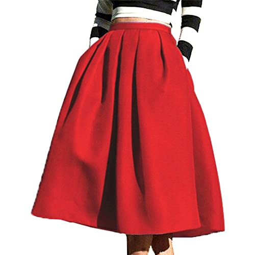 94a887ee9 FACE N FACE Women's High Waisted A Line Street Skirt Skater Pleated Full Midi  Skirt