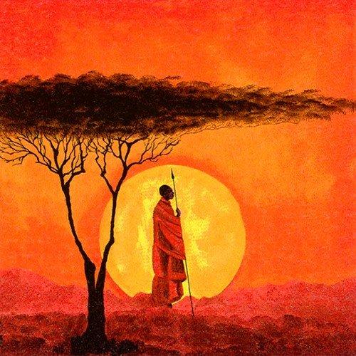 20 Servietten Afrika bei Sonnenuntergang/Menschen/Sonne 33x33cm (Badartikel)