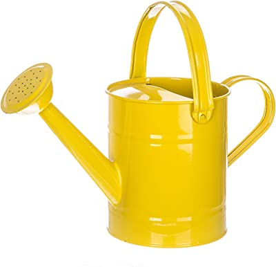 """Topadorn Metal Watering Can 54.5 Oz. Modern Style Watering Pot with Handle and Rosehead, 11.4""""W x 4.72""""D x 8.66""""H, Yellow"""