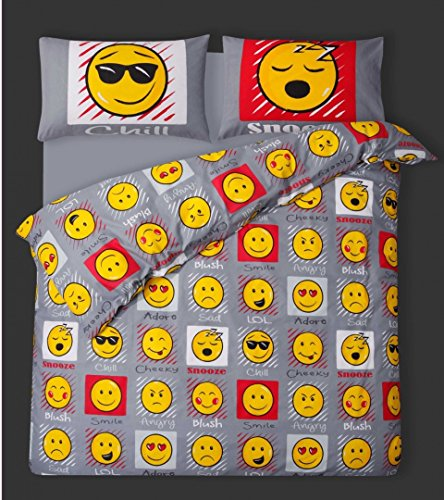 King Size Bed Duvet / Quilt Cover Bedding Set Smiley Bedding Emoticon Faces / Expressions / Emoticons