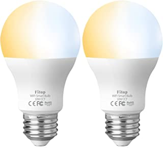 Smart Light Bulb, WiFi Bulbs Work with Alexa Siri Google Home Warm White to Daylight Tunable 80 Watt Equivalent 960LM, Smart LED Bulb Dimmable No Hub/Bridge Required, Fitop E26 A19 Two Bulbs