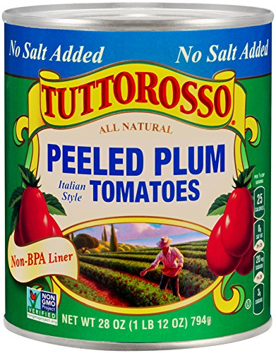 Tuttorosso No Salt Added Peeled Plum Tomatoes, 28oz Can (Pack of 12)