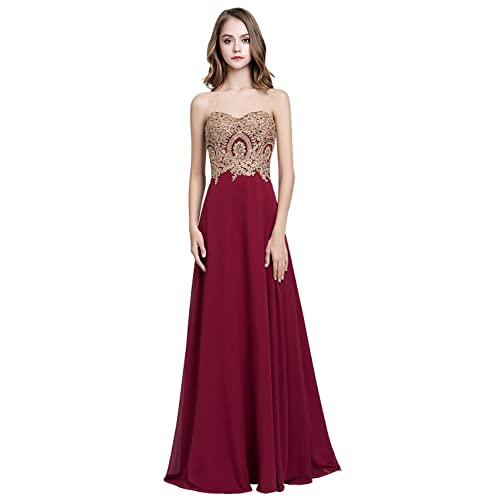 c6ead477414d Sarahbridal Juniors Sweetheart Bridesmaid Dresses Chiffon Long Prom Evening  Gown Pleated