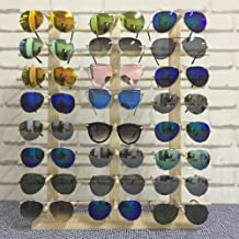 Z.N.Z Wood Sunglasses Stand Jewelry Organizer Woods Jewelry Stand Glasses Holder Glasses Rack Jewelry Display Wooden Rack (Three Row 24 Pair)