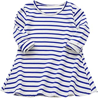 Yumiki tシャツ ワンピース 長袖 ラウンドネックストライプ通園 通学 キッズ ガールズ 子供服 カジュアル 発表会 ファッション 人気 普段着 部屋着