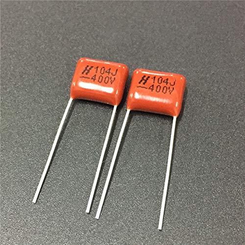 100pcs condensador CBB 104 400V 104J 0.1uF 100nF P10 CL21 condensador de película de polipropileno metalizado