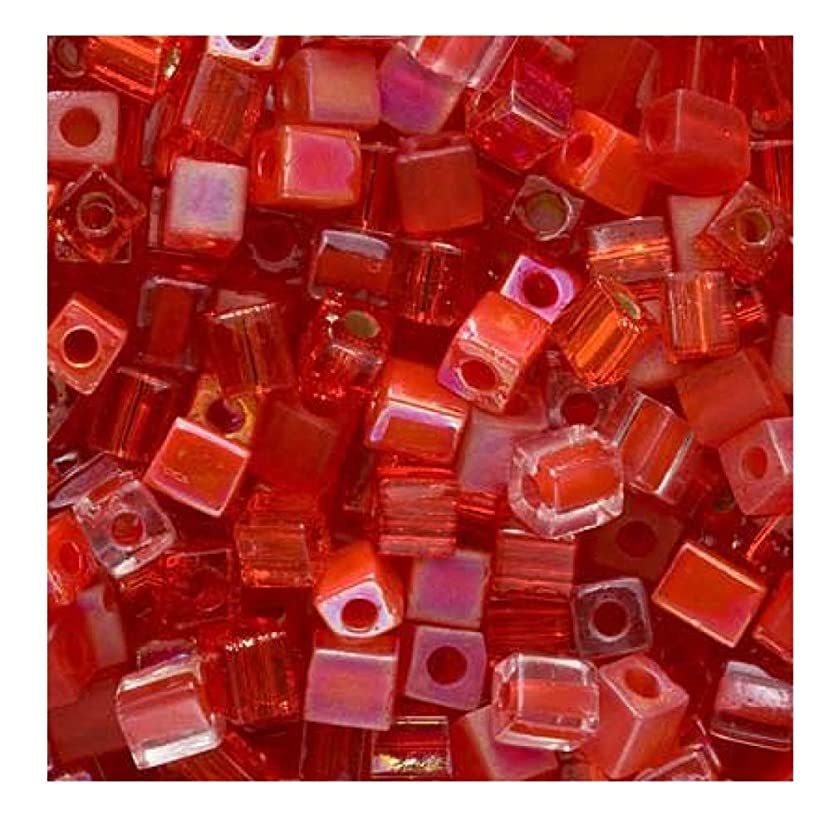 Miyuki 4mm Glass Cube Bead Mix Red Medley 10 Grams