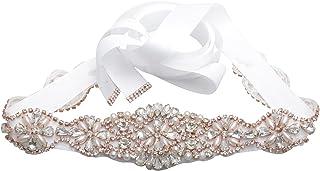 أحزمة الزفاف المصنوعة يدويًا من أحجار الراين والكريستال وحزام لوصيفات العروس وشاح لإشبينة العروس للنساء إكسسوارات فستان