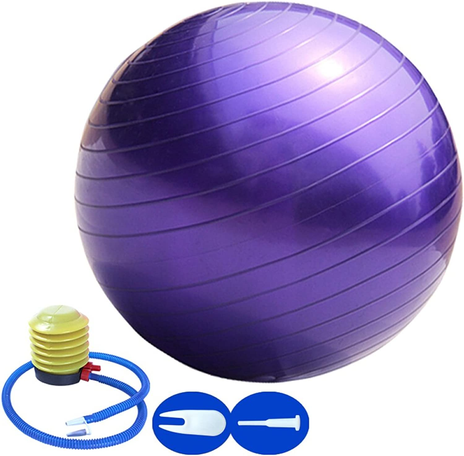 Anti-Burst & Anti-Slip Exercise Ball with Quick Pump Yoga Ball Extra Thick Heavy Duty Ball Chair Gym Quality Fitness Yoga Swiss Ball with Foot Pump Professional Multifunction Birthing Ball