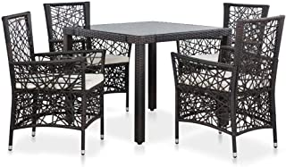 vidaXL 5 Pieces Outdoor Dining Set with Cushion Poly Rattan Weather Resistant Steel Frame 1 Table 4 Chairs Lounge Set Pati...