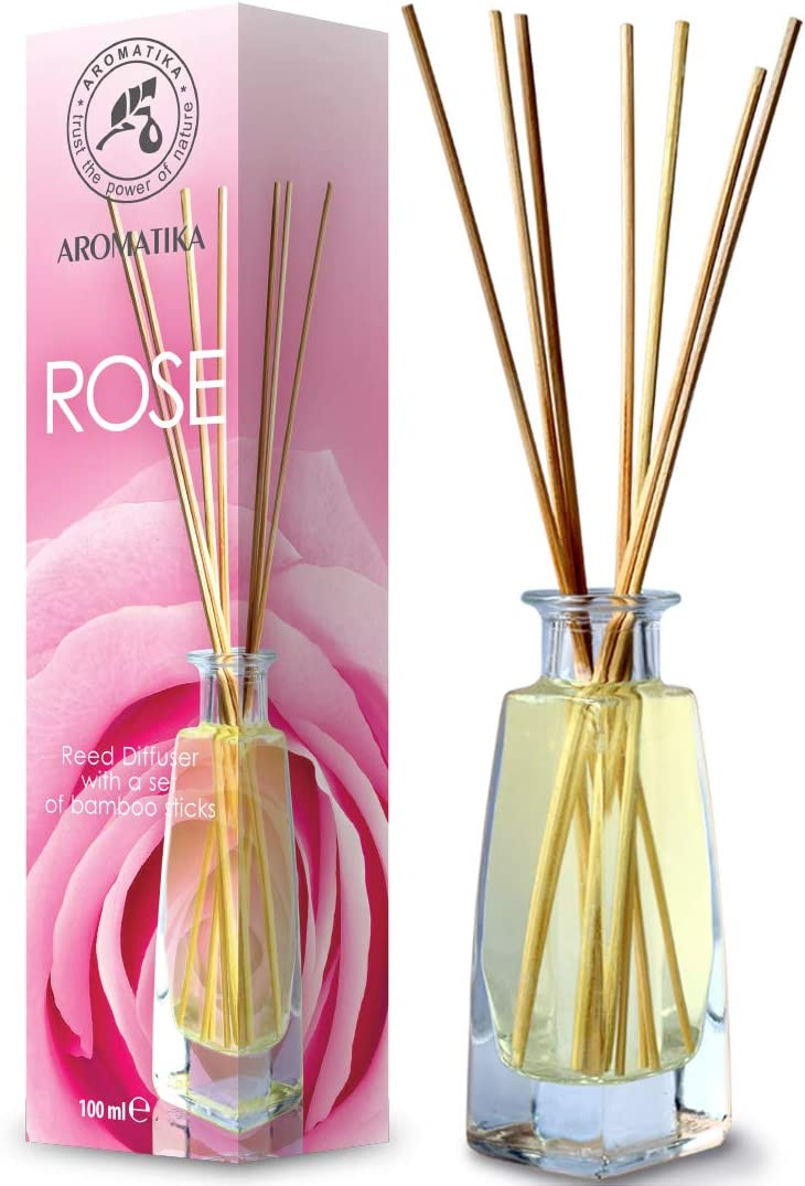 Reed Diffuser Rose 3.4oz - Fresh & Long Lasting Fragrance - Alcohol Set with Bamboo Sticks - Best for Aromatherapy - Spa - Home - Kitchen - Bath - Office