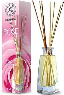 Ambientador de Rosas 100ml con 8 Palitos de Bambú - 0% Alcohol - Puro Difusor con Varillas de Rosas - Ambientador para ?ocina y Baño - Hogares - Oficinas - Restaurantes - Aromaterapia