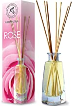 Reed Diffuser Rose 100ml - Fresh & Long Lasting Fragrance - Alcohol Free - Gift Set with 8 Bamboo Sticks - Best for Aromat...