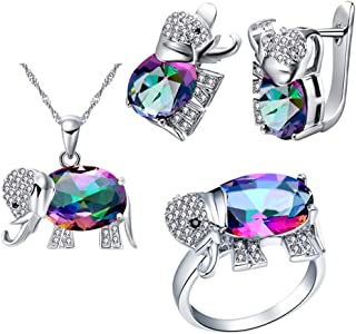 Good Luck Big Elephant Shape Crystal Drop Pendant Necklace, Earrings and Rings Wedding Jewelry Set for Bridal Women Birthday Anniversary T485