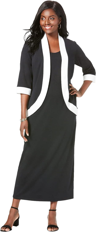 Jessica London Women's Plus Size Ponte Jacket Dress Long Maxi Set