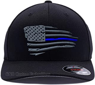 Thin Blue Line Waving USA Flag. Embroidered. 6477 and 6277 Flexfit Wooly Combed Twill Cap
