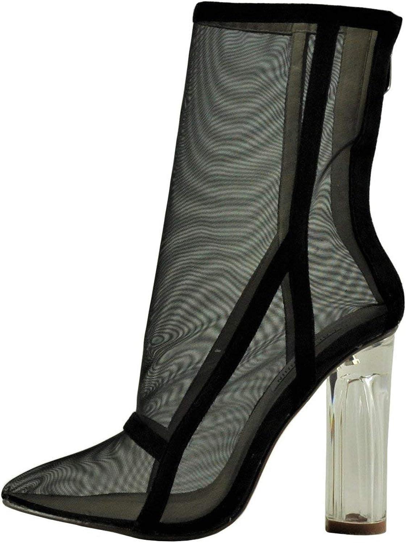 CAPE ROBBIN Brady 2 Women's Point Toe Mesh Lucite Heel Boot JYI2163