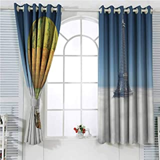 Eiffel Tower Decor Collection Blackout Shades Curtains Fantasy Hot Air Balloon and Eiffel Tower Ballooning above the Clouds Adventure Design for Window Curtains Valances W96 x L107 Inch Yellow