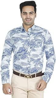 EL FIGO Men's Casual Full Sleeve Sky Blue Floral Cotton Printed Slim FIT Shirt