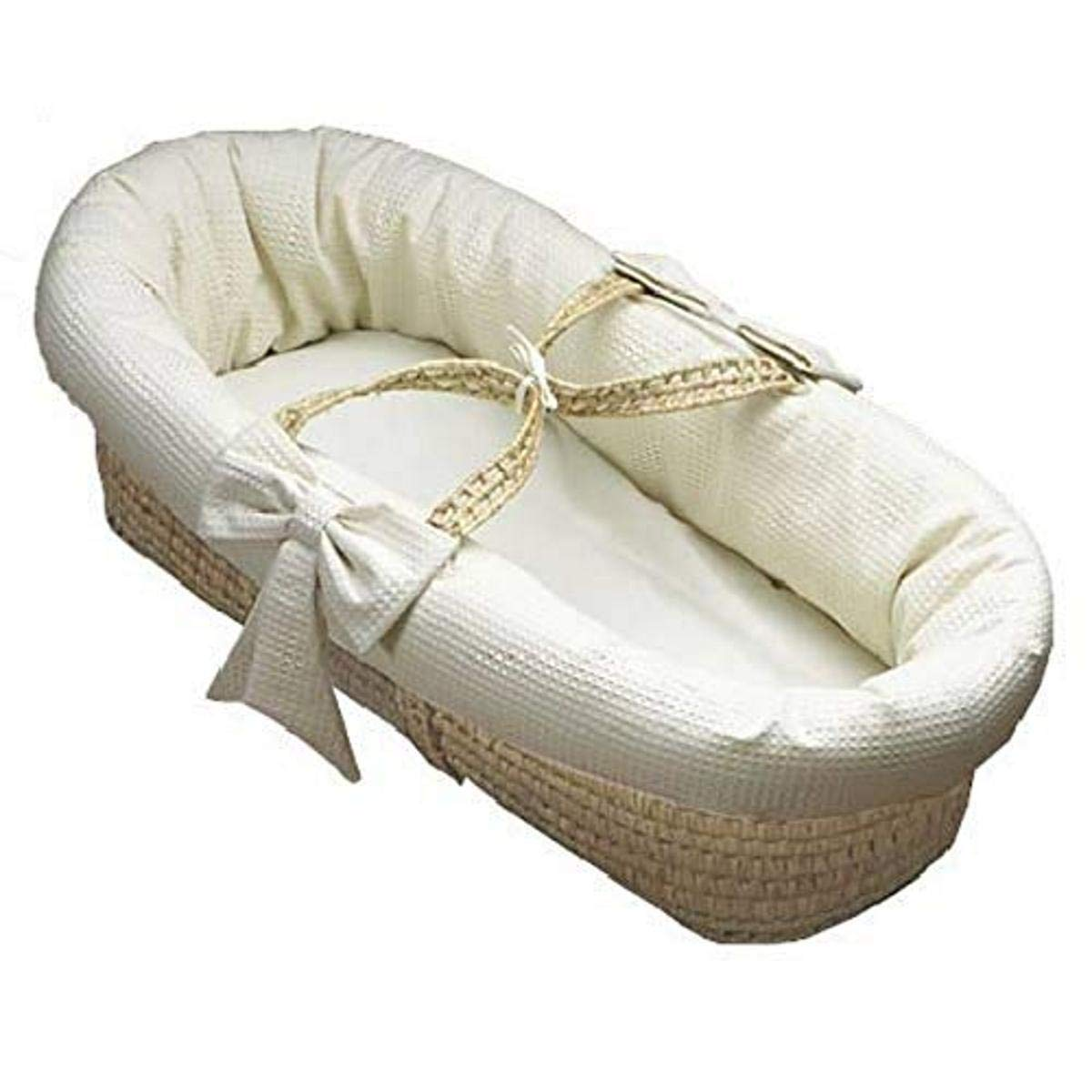 Baby Doll Bedding Pique Moses Basket, White, 0-3 Month