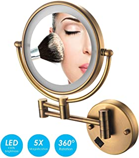 Makeup Mirror Wall Mounted Makeup Mirror with Lights and Magnification 5X, LED Lighted Double Sided Vanity Mirror USB Rechargeable, Shaving in Bedroom or Bathroom