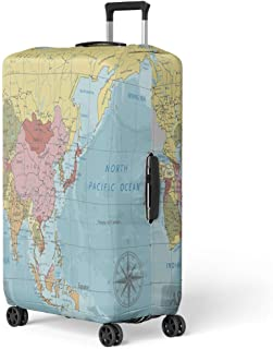 Luggage Cover Detailed Asia Political Map in Mercator Projection Clearly Labeled Travel Suitcase Cover Protector Baggage Case Fits 22-24 Inch