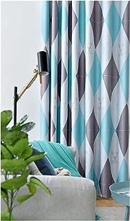 SFQRYP Nordic Style Rhombus ستائر لغرفة النوم غرفة المعيشة ستائر التعتيم بسيط ستائر الجاكار الحديثة تول (Color : Blue, Siz...