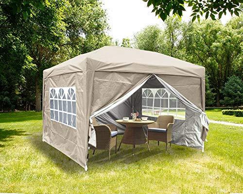 3x3M Pop-up-Pavillon Gartenparty im Freien Klappbarer Pavillon mit 4 x Seitenwänden | 4 x Beingewichtstaschen | Tragetasche