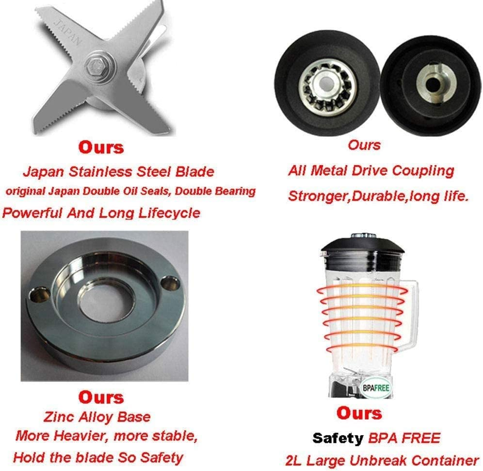 QINGTIAN Mélangeur Multifonctionnel,Technologie de broyage Totale,mélangeur de comptoir Professionnel en Plastique 2L pour Smoothies - 2200W,Moteur 43000 TR/Min Black