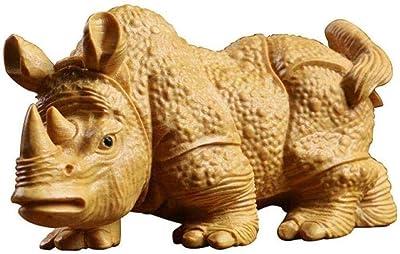 Estatuas para jardín Figuras de colección Adornos Estatuas Esculturas Tallas de Madera de boj Adornos de Dibujos Animados de Madera Maciza Talla Artesanía Animal Rinoceronte: Amazon.es: Hogar