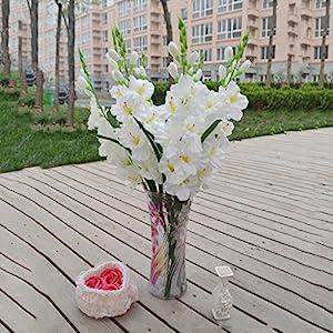 MonkeyJack Artificial Plants & Flowers Wedding Flower Gladioli Gladiolus stem 8 Colors – White, 80cm