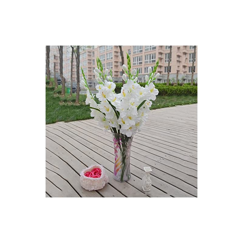 silk flower arrangements monkeyjack artificial plants & flowers wedding flower gladioli gladiolus stem 8 colors - white, 80cm