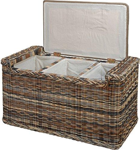 korb.outlet Wäschesortierer mit Sitzbank aus echtem Rattan/Wäschesammler mit 3 Fächern in der Farbe Zebra (Mehrfarbig) - 2