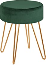 Duhome Elegant Lifestyle Dressing Stool Ottoman Pouffe Upholstered Footstool Living Room Bedroom Change Shoes Tea Table Stools with 4 Metal Legs Green