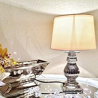 STEFFI 30 cm-pied de lampe en céramique blanc/argent/abat-jour de lampe table