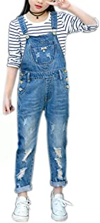 Girls Big Kids Distressed Denim Overalls Blue Jeans Strecthy Ripped Jeans Romper