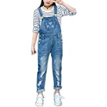 37e2eeae50d5 Sitmptol Girls Big Kid Distressed Bib Overalls Blue BF Style Cuffed Denim  Long Jeans 1P