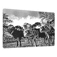 超大型マウスパッド ゲーミング、3頭の好奇心旺盛な牛の彫刻イラスト、かわいい防水 滑り止めベース、ステッチエッジ、コンピューターとデスク用の超滑な表面