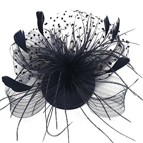 TEBAISE Damen Hut Blume Mesh Bänder Federn auf einem Stirnband und einem geteilten Clip Cocktail Tea Party Headwear für Mädchen und Frauen Weihnachten Karneval