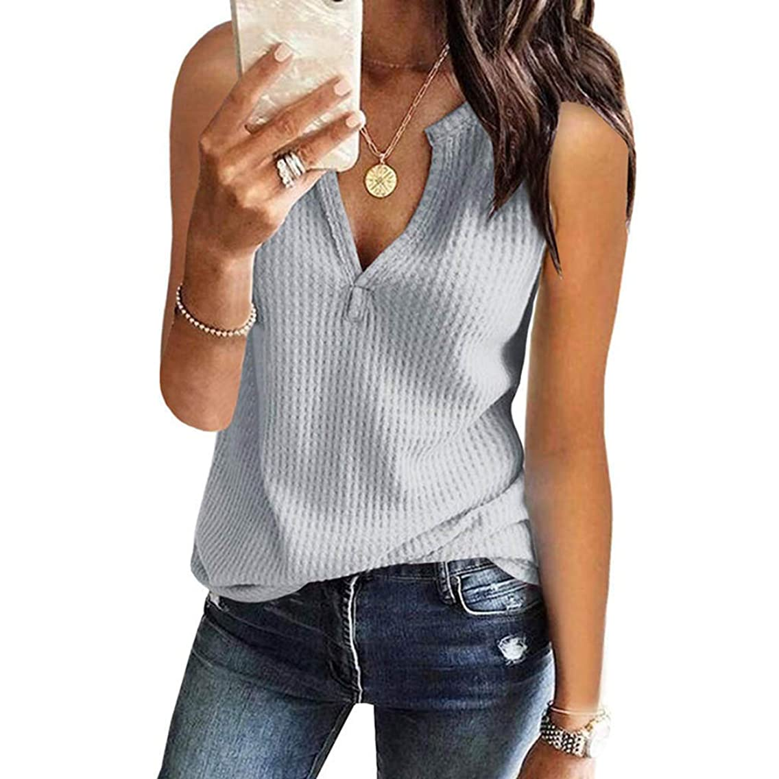 GHrcvdhw Womens Stylish V Neck Shirts Sleeveless Solid Waffle Knit Tanks Loose Fitting Tops Blouse