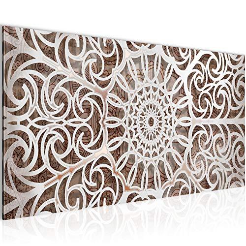 Bilder Mandala Abstrakt Wandbild Vlies - Leinwand Bild XXL Format Wandbilder Wohnzimmer Wohnung Deko Kunstdrucke Braun 1 Teilig - MADE IN GERMANY - Fertig zum Aufhängen 109612a