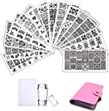 Nail Art Stamping Plates 15pcs Placas Estampacion Uñas para Manicura +1pcs Sello de Silicona +1 pcs Rascador +1 pcs Bolsa para Placas(Rosa)