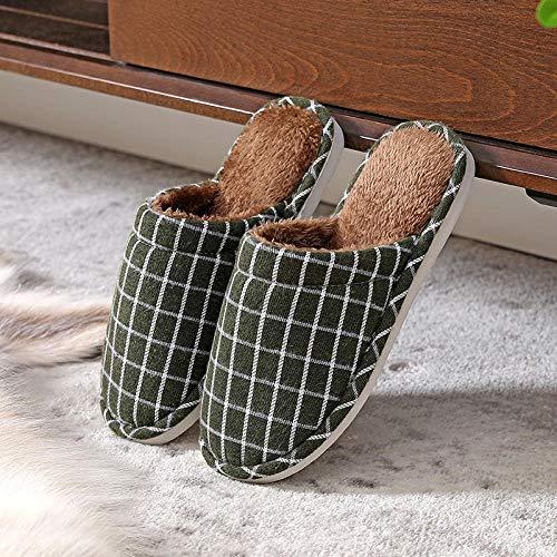 Warme Hausschuhe aus Baumwolle, rutschfeste,wasserdichte ,Warme,rutschfeste Plüschpantoffeln,Damenschuhe mit dicken Sohlen und karierter Baumwollbremse green_42-43,Damen Comfort Memory Foam Hausschuh