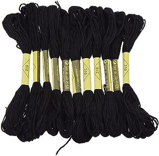 Six Strand Cross Stitch Embroidery Floss Thread 8.7 Yards - Black 12Pcs