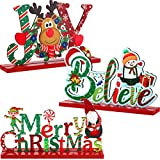 Blulu 3 Christmas Table Decoration Signs Joy Sign Christmas Table Centerpiece Snowman Wooden Party Decorations for Winter Holiday Christmas Dinner Party Coffee