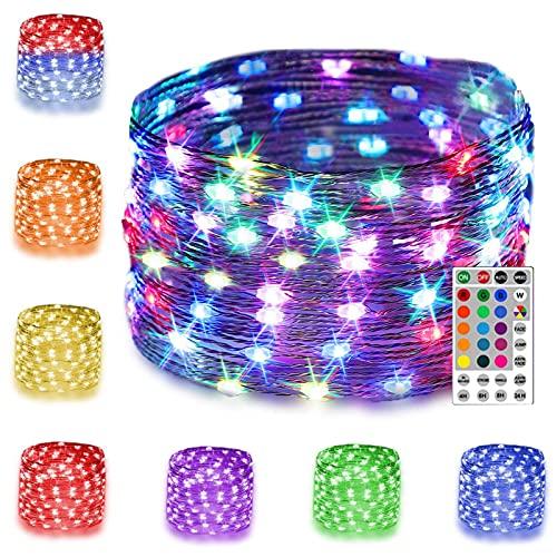 10M 100 LED Bunt Lichterkette Außen, 16 Farben USB Kupferdraht Lichterketten Innen mit Fernbedienung & 7 Modi, Farbwechsel String Lights Stimmungslichter für Halloween Zimmer Kinderzimmer Party DIY